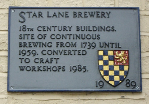 Star Lane Brewery plaque, Lewes