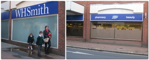 2 photos of blank windows at Boots, Lewes