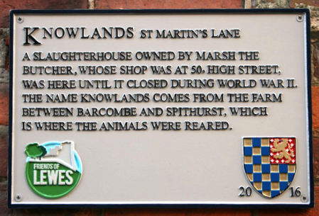 Knowlands plaque for old Lewes slaughterhouse