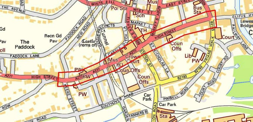 lewes-high-street-proposed-parking-changes-2017-map