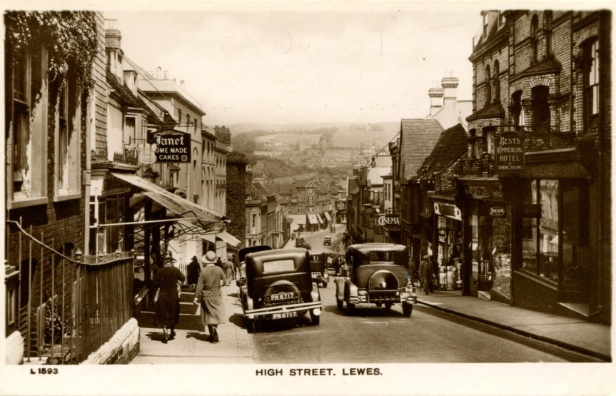 High Steet Lewes postcard Bob Cairns talk