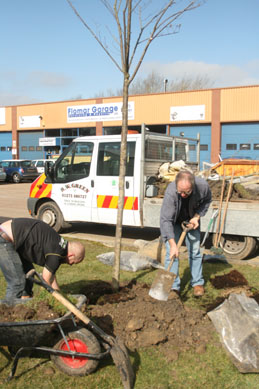Tree planting at Malling Industrial Estate, Lewes
