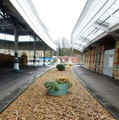 Lewes Railway Station filled-in platform