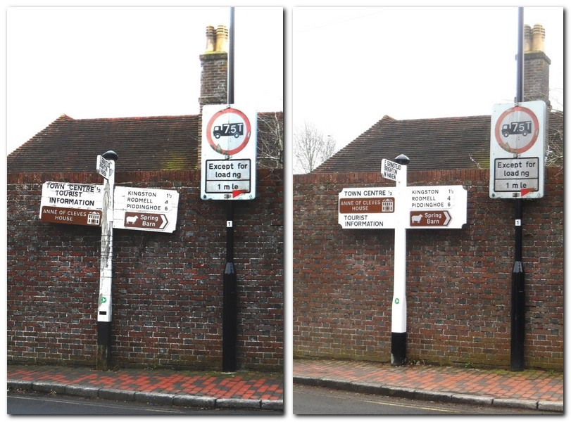 Signpost at Swan Inn, Lewes, before and after restoration
