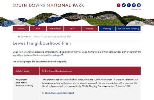 SDNPA Lewes Neighbourhood Plan Examiner's Report 2018