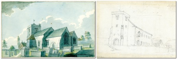 Lewes All Saints Church before and after building of new nave