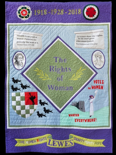 Heather Downie quilt, banner for Women's vote