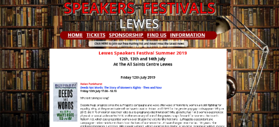 Lewes Speakers Festival, Summer 2019