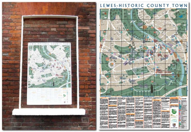 Lewes Town Map at Barbican House