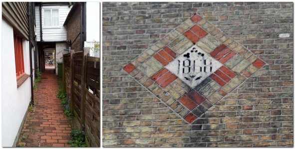 Brick pavers in English's Passage, and decorative brick work at Freemasons' Hall, Lewes