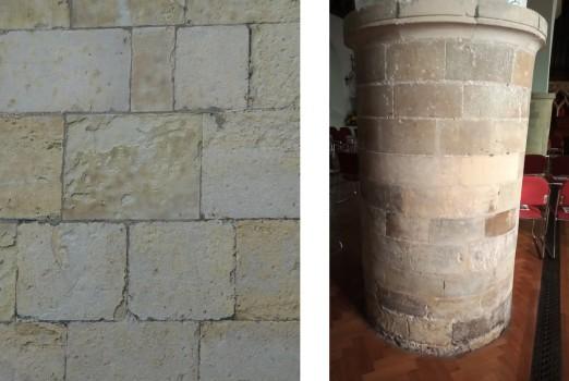 Caen stone ashlar blocks at Lewes Priory, and Southover Church pillars