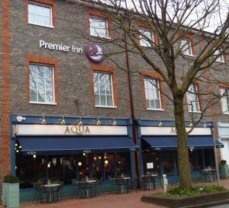 Contrasting bricks on Premier Inn, Lewes