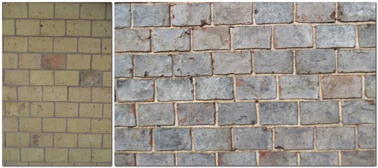 Cream bricks, blue bricks