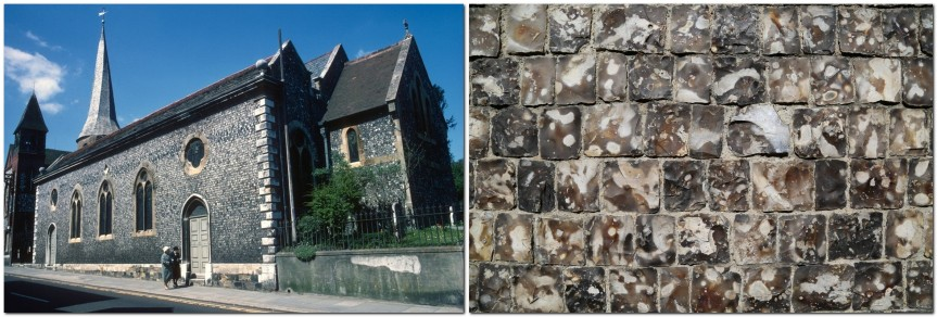 Flint in St Michael's Church Lewes, and squared off flints