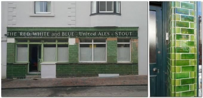 Glazed ceramic tiles on Friars' Walk and Lewes High Street
