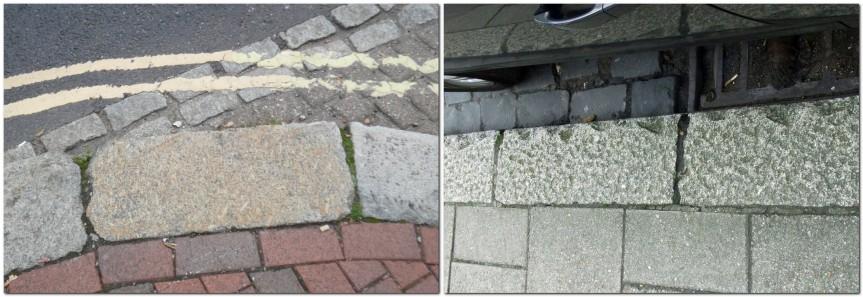 Granite slab kerbstones on Friars' Walk, and Lewes High Street kerb damage