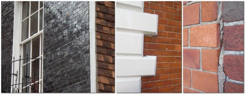 Mathematical tiles on Bartholomew House, Westgate House quoins, and tiles against bricks, Lewes