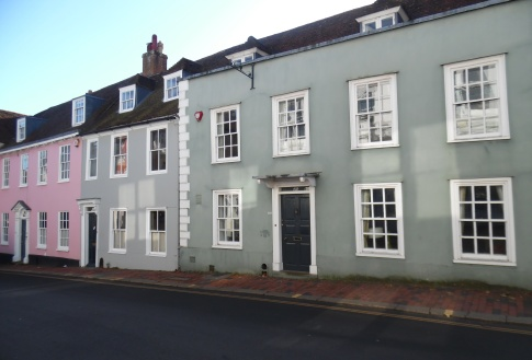 Painted rendered house fronts on Lewes High Street