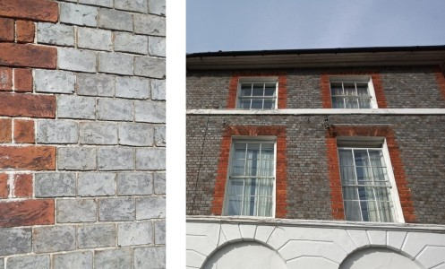 Red and grey bricks, East Street Lewes, and contrasting bricks on Southover High Street
