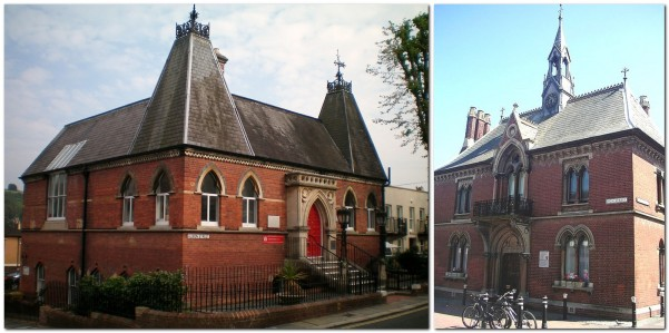 Red bricks on Old Library, and Fitzroy House, Lewes
