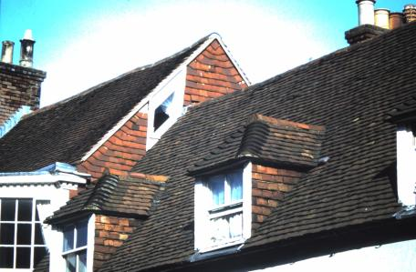 Red clay roof tiles on Lewes High Street