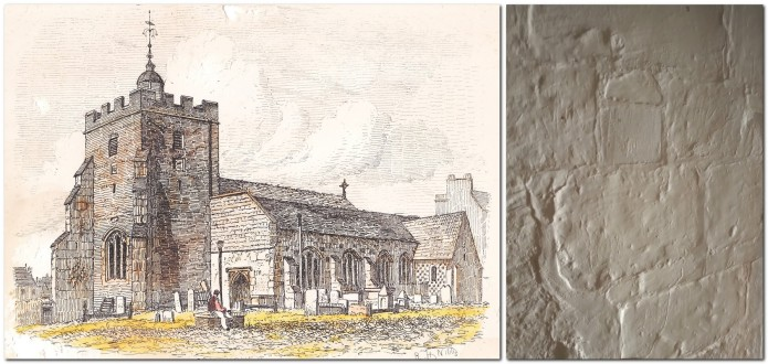 Southover Church 1850s print, and chalk blocks in tower
