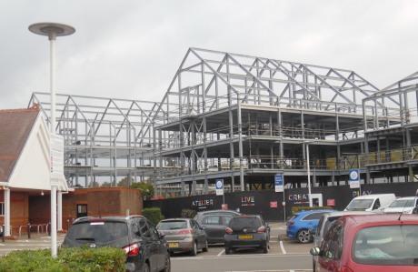 Steel framework, Brooks Road development, Lewes