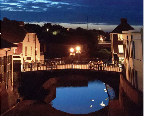Cliffe Bridge, Lewes, with Hiroshima candles