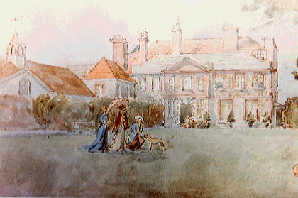 Watercolour of Lewes House and garden c.1910, by Roger Fry